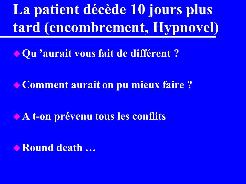La patient décède 10 jours plus tard (encombrement, Hypnovel)
