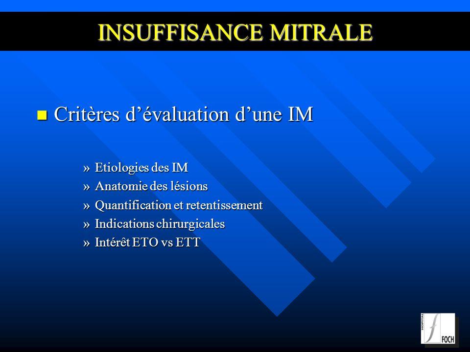 INSUFFISANCE MITRALE Critères d'évaluation d'une IM Etiologies des IM