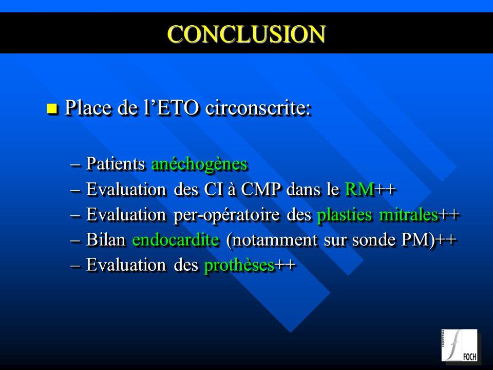 CONCLUSION Place de l'ETO circonscrite: Patients anéchogènes
