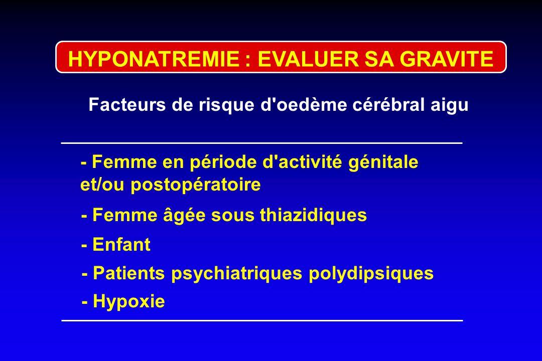 HYPONATREMIE : EVALUER SA GRAVITE