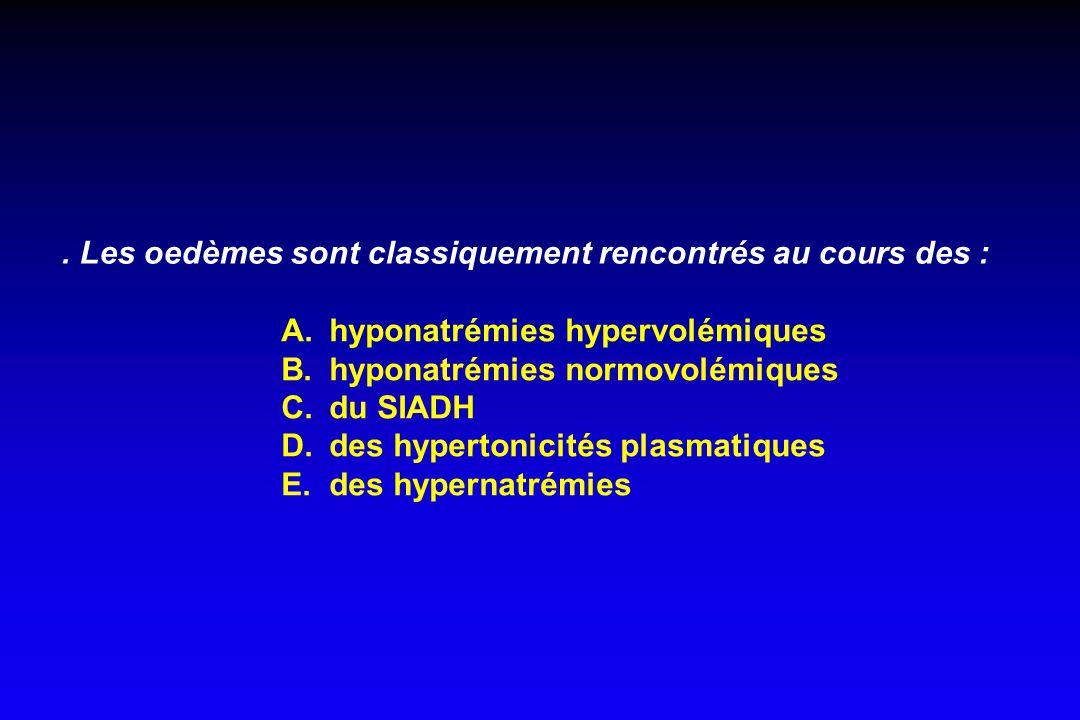 . Les oedèmes sont classiquement rencontrés au cours des :