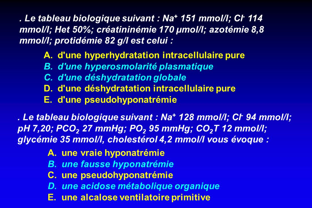d une hyperhydratation intracellulaire pure