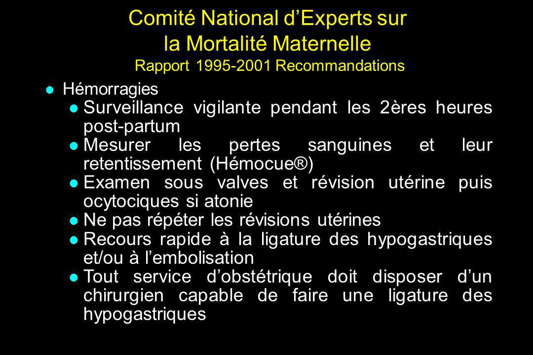 Comité National d'Experts sur la Mortalité Maternelle Rapport 1995-2001 Recommandations