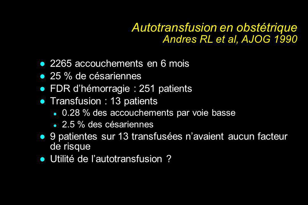 Autotransfusion en obstétrique