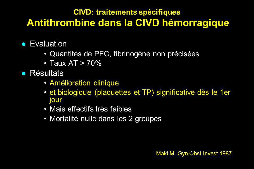 CIVD: traitements spécifiques Antithrombine dans la CIVD hémorragique