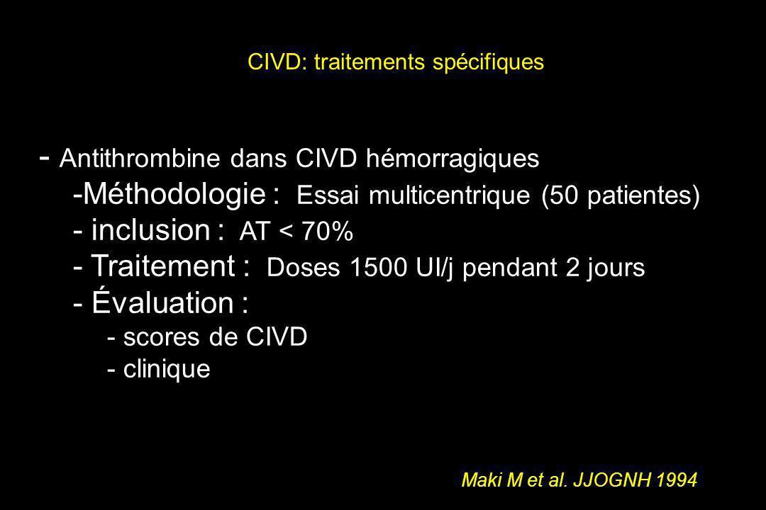 CIVD: traitements spécifiques