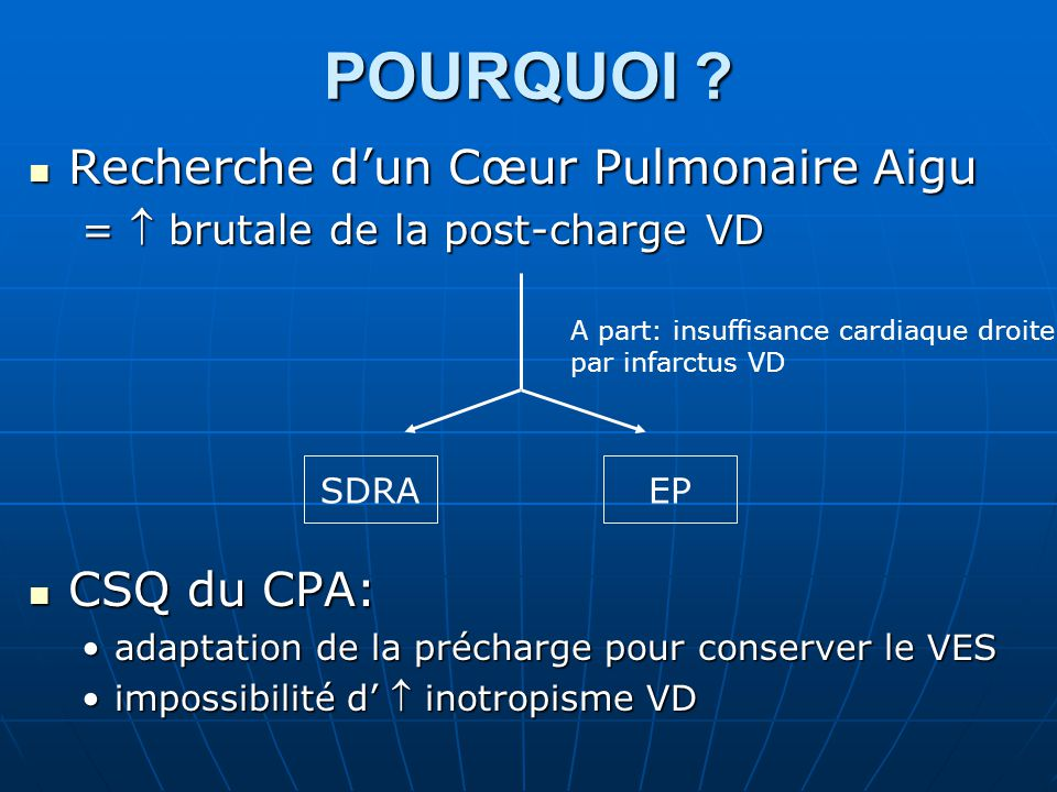POURQUOI Recherche d'un Cœur Pulmonaire Aigu CSQ du CPA: