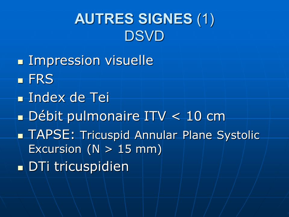 AUTRES SIGNES (1) DSVD Impression visuelle FRS Index de Tei
