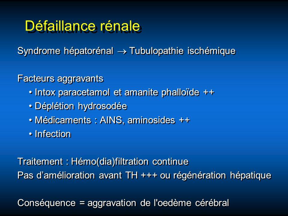 Défaillance rénale Syndrome hépatorénal  Tubulopathie ischémique