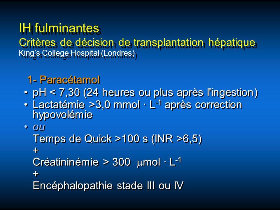 IH fulminantes Critères de décision de transplantation hépatique King's College Hospital (Londres)