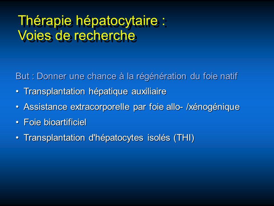 Thérapie hépatocytaire : Voies de recherche