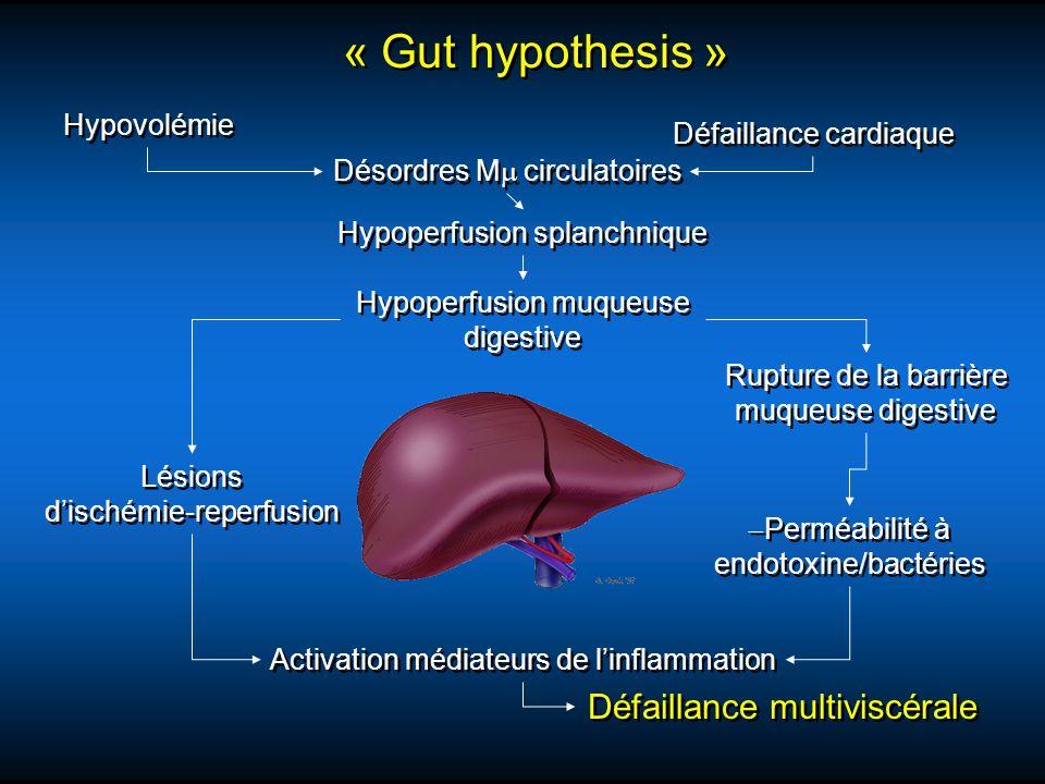 « Gut hypothesis » Défaillance multiviscérale Hypovolémie