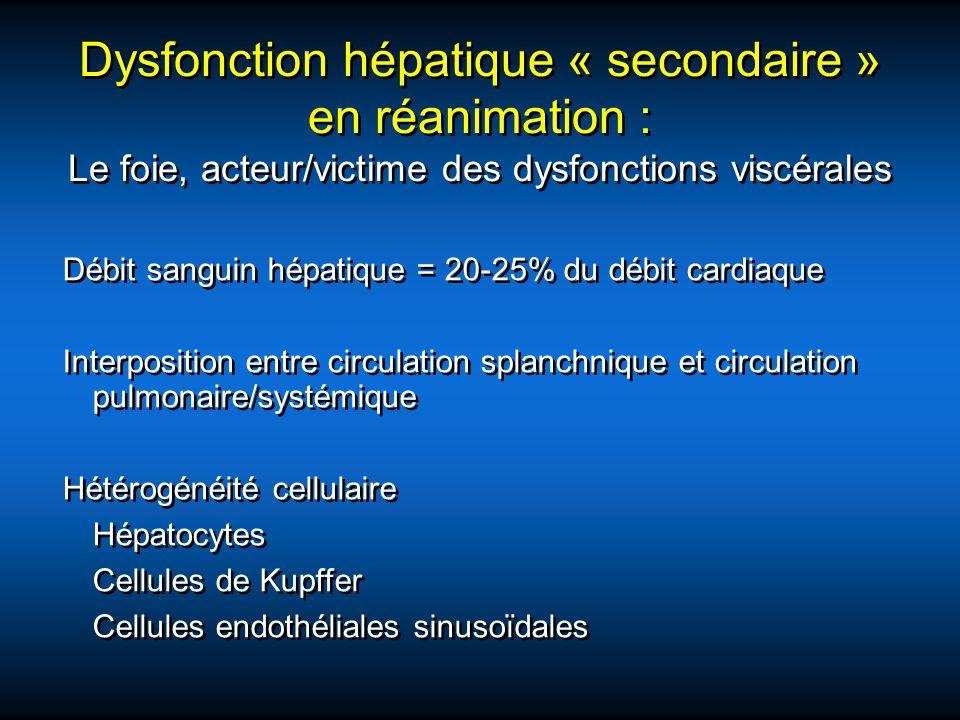 Dysfonction hépatique « secondaire » en réanimation : Le foie, acteur/victime des dysfonctions viscérales