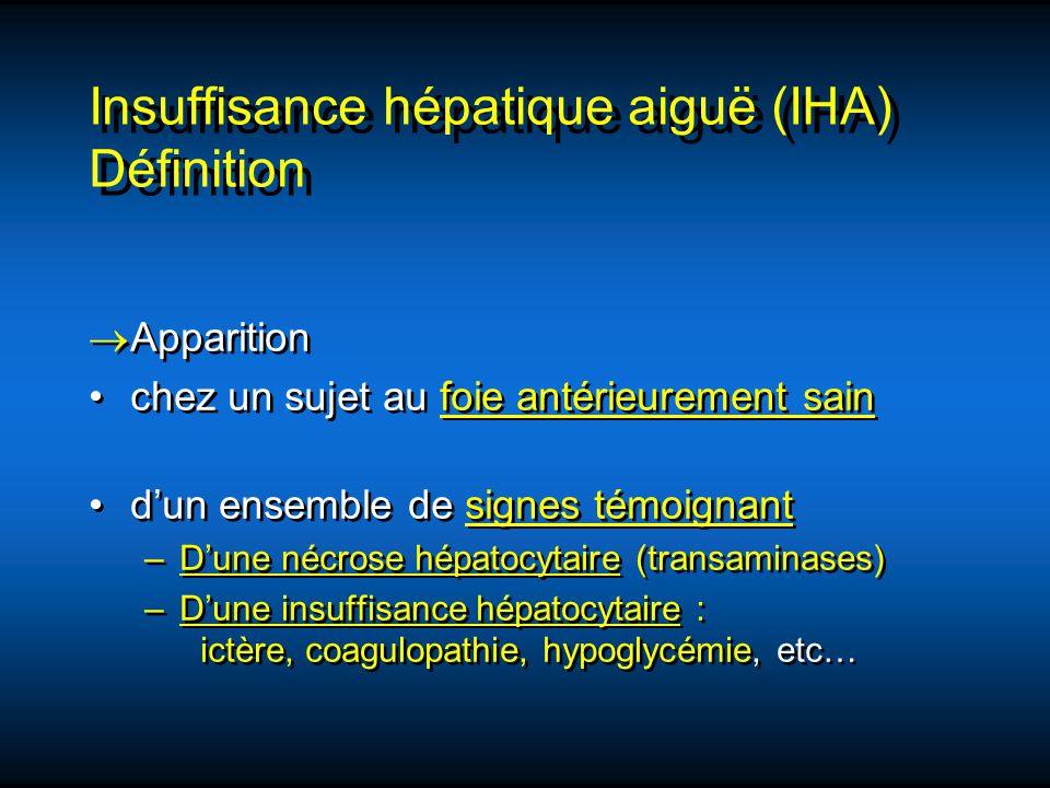 Insuffisance hépatique aiguë (IHA) Définition