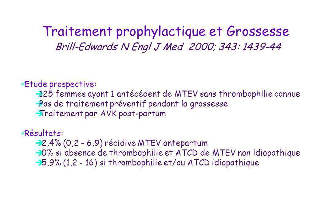 Traitement prophylactique et Grossesse Brill-Edwards N Engl J Med 2000; 343: 1439-44