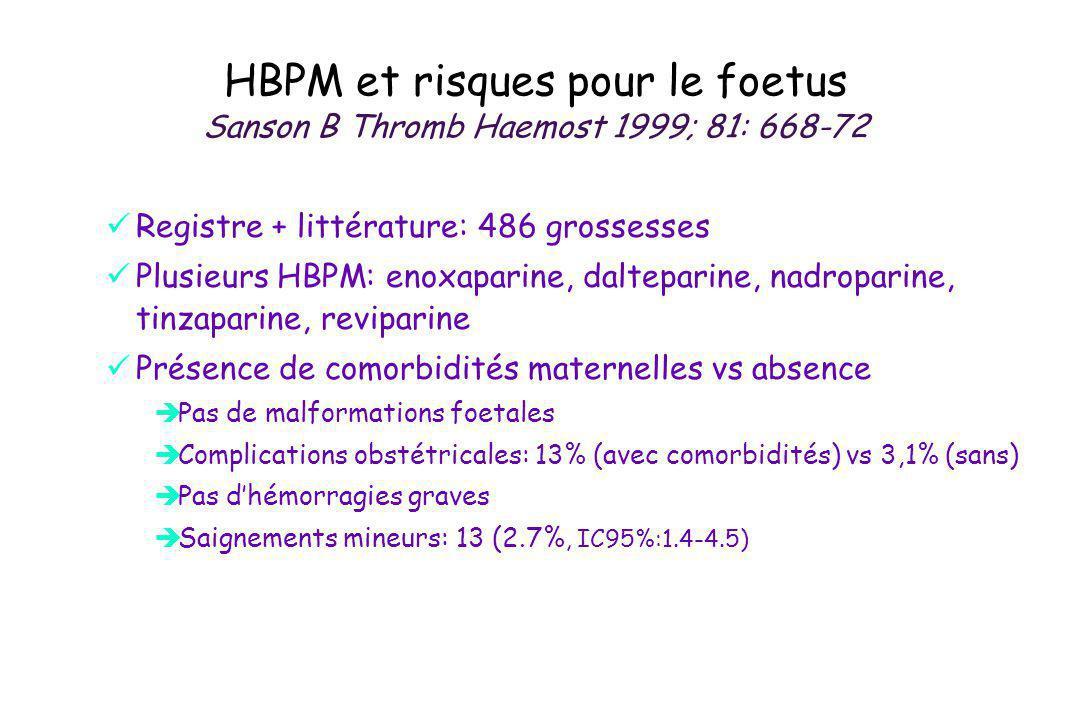 HBPM et risques pour le foetus Sanson B Thromb Haemost 1999; 81: 668-72