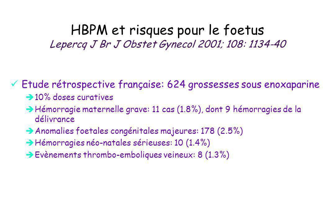 HBPM et risques pour le foetus Lepercq J Br J Obstet Gynecol 2001; 108: 1134-40