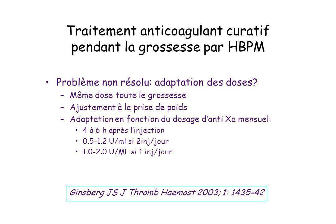 Traitement anticoagulant curatif pendant la grossesse par HBPM