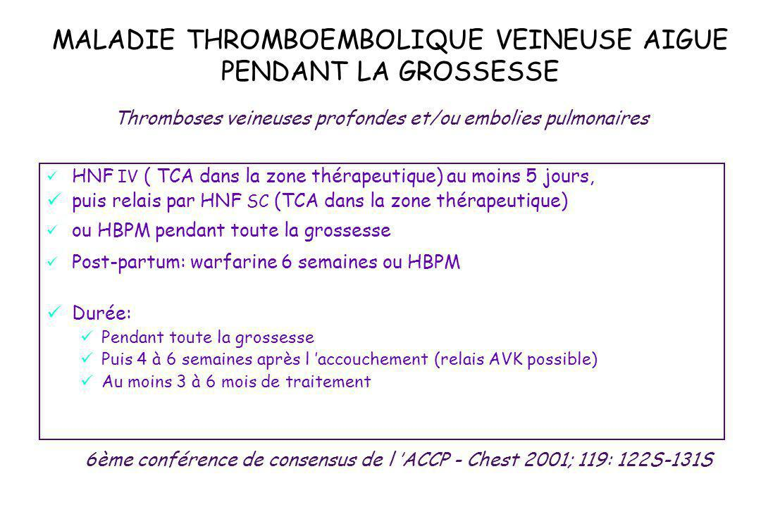 MALADIE THROMBOEMBOLIQUE VEINEUSE AIGUE PENDANT LA GROSSESSE