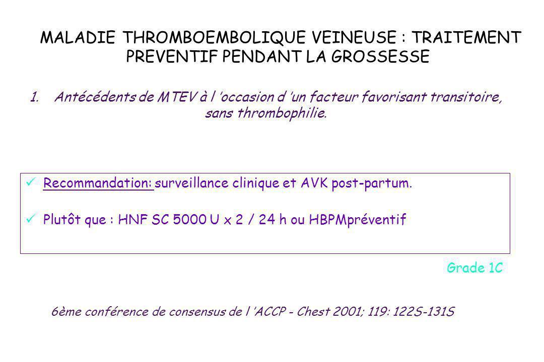 MALADIE THROMBOEMBOLIQUE VEINEUSE : TRAITEMENT PREVENTIF PENDANT LA GROSSESSE