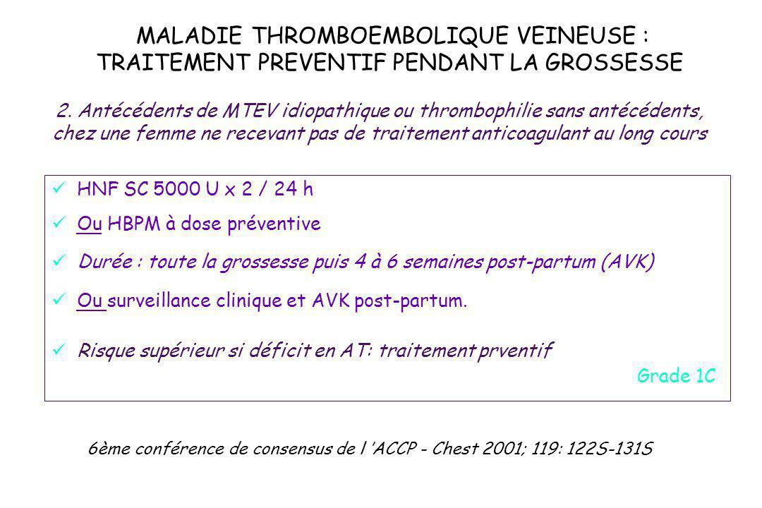 2. Antécédents de MTEV idiopathique ou thrombophilie sans antécédents,