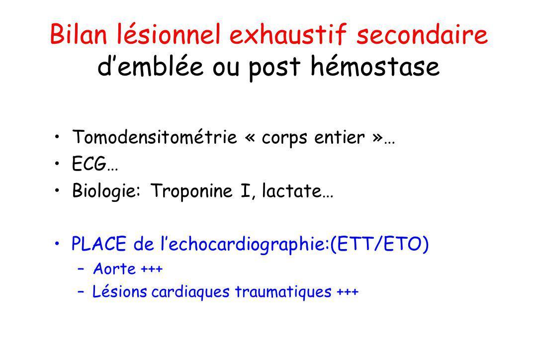 Bilan lésionnel exhaustif secondaire d'emblée ou post hémostase