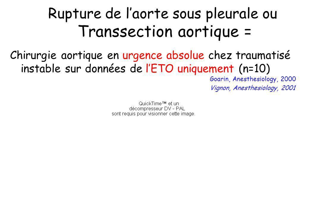 Rupture de l'aorte sous pleurale ou Transsection aortique =