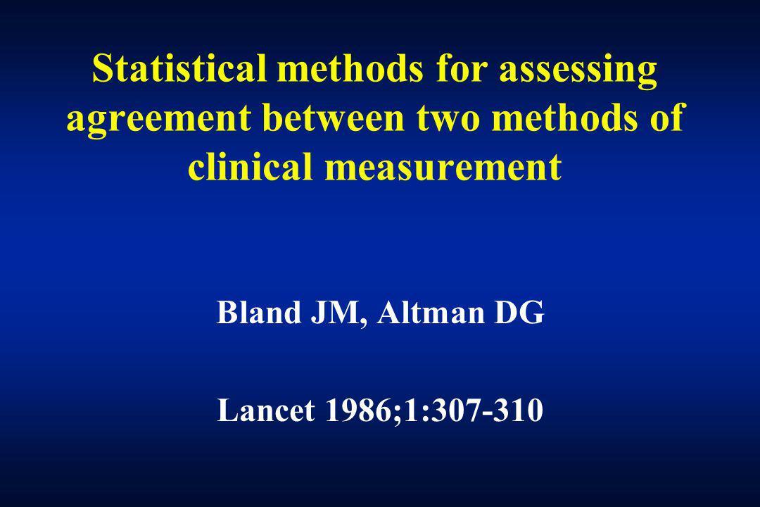 Bland JM, Altman DG Lancet 1986;1:307-310