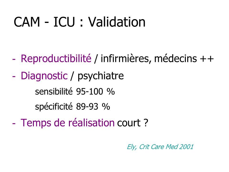 CAM - ICU : Validation Reproductibilité / infirmières, médecins ++