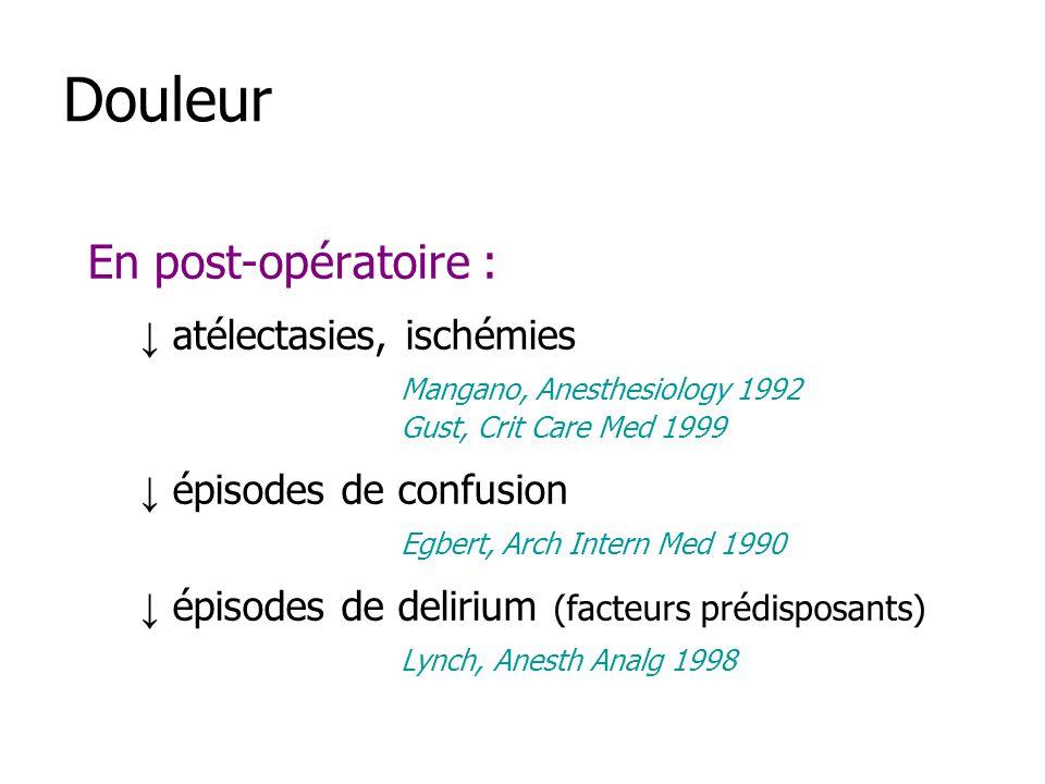 Douleur En post-opératoire : ↓ atélectasies, ischémies
