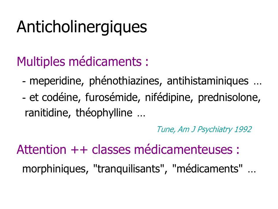 Anticholinergiques Multiples médicaments :