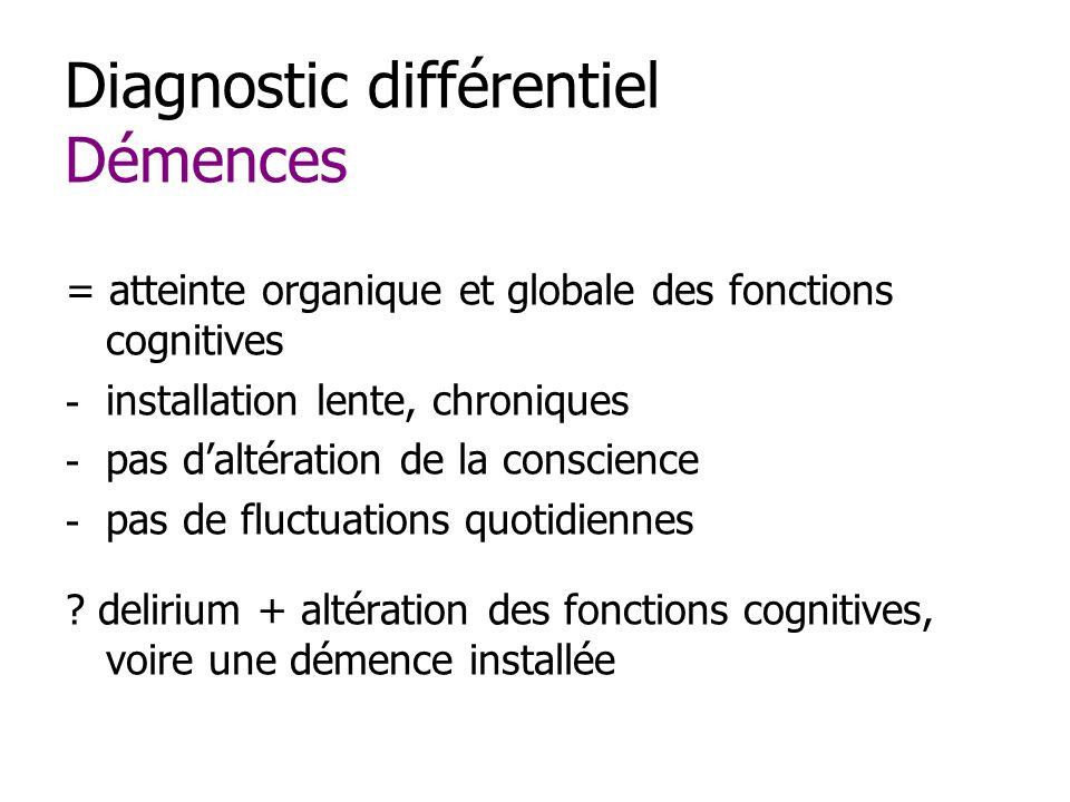 Diagnostic différentiel Démences