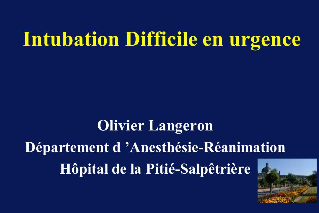 Intubation Difficile en urgence