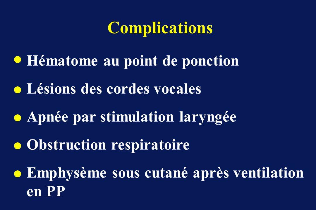 Complications Hématome au point de ponction Lésions des cordes vocales