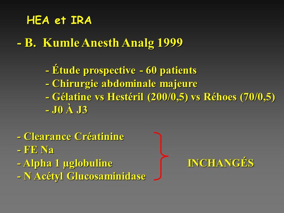 - B. Kumle Anesth Analg 1999 HEA et IRA