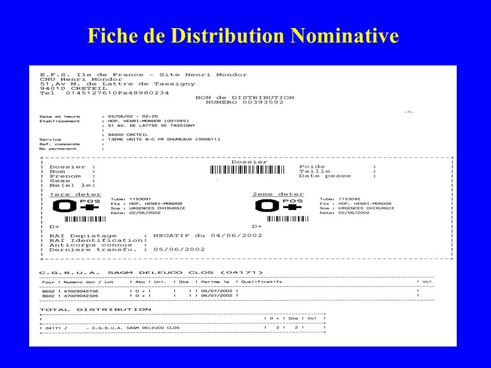 Fiche de Distribution Nominative