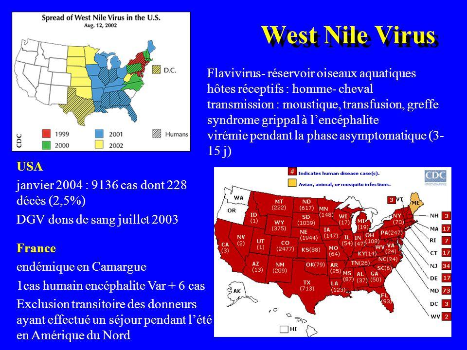 West Nile Virus Flavivirus- réservoir oiseaux aquatiques