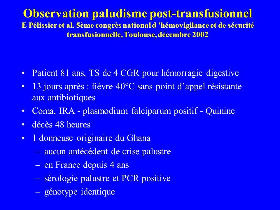 Observation paludisme post-transfusionnel E Pélissier et al