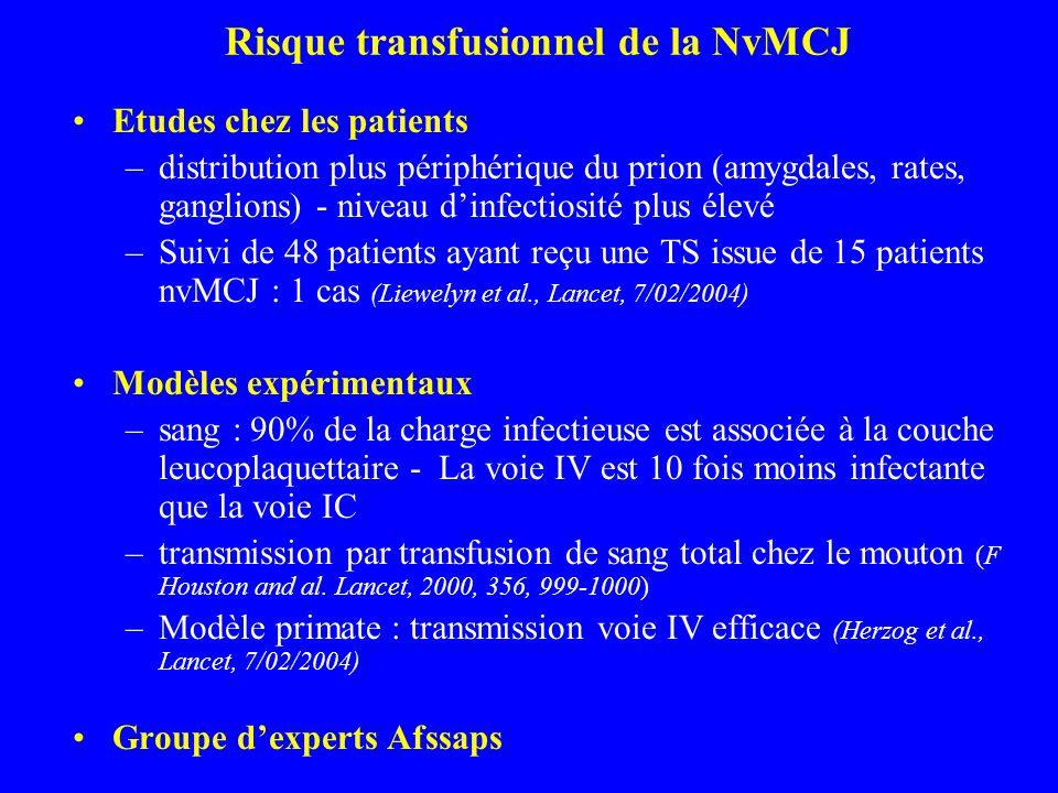 Risque transfusionnel de la NvMCJ