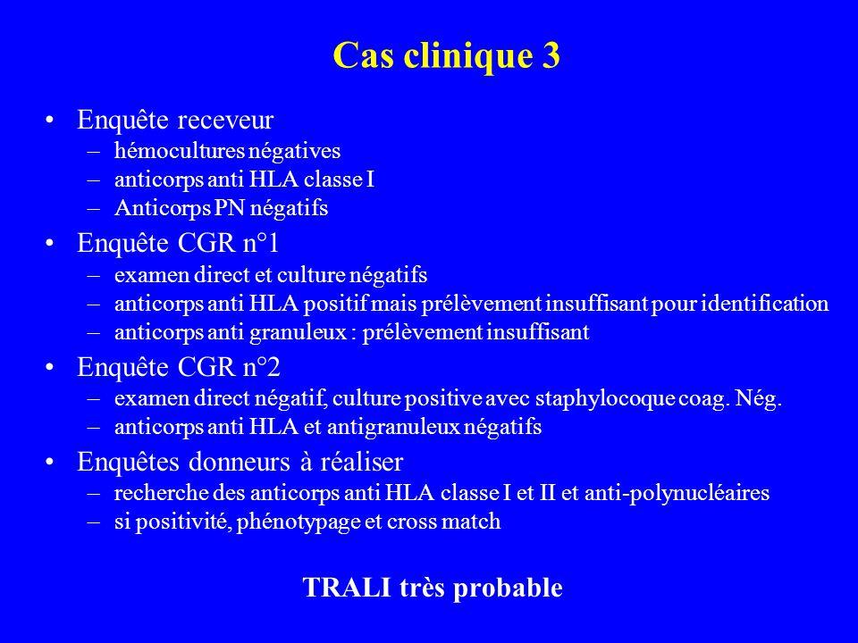Cas clinique 3 Enquête receveur Enquête CGR n°1 Enquête CGR n°2