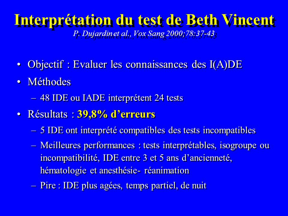 Interprétation du test de Beth Vincent P. Dujardin et al