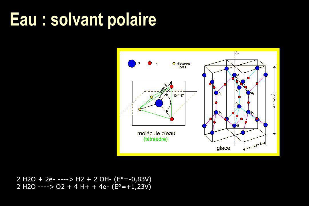 Eau : solvant polaire 2 H2O + 2e- ----> H2 + 2 OH- (E°=-0,83V) 2 H2O ----> O2 + 4 H+ + 4e- (E°=+1,23V)