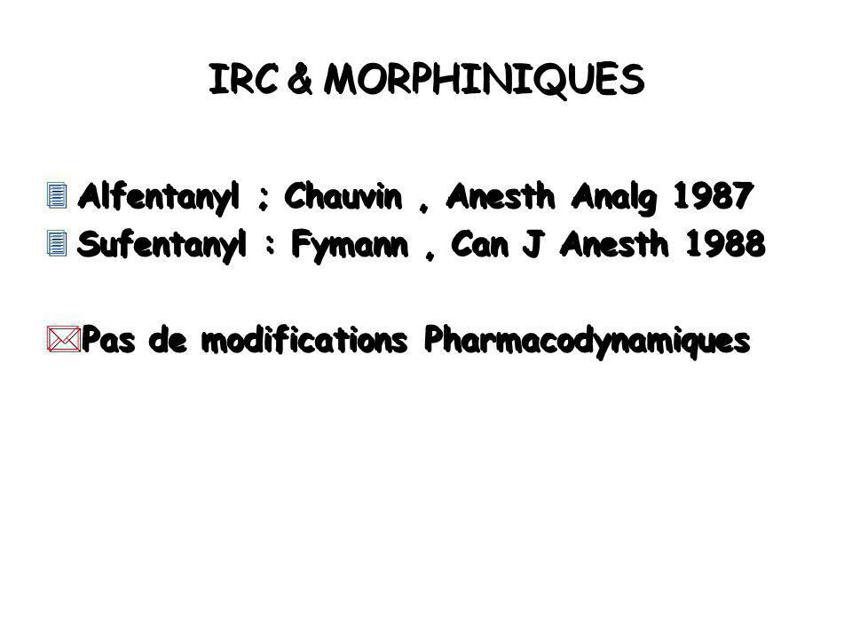 IRC & MORPHINIQUES Alfentanyl ; Chauvin , Anesth Analg 1987