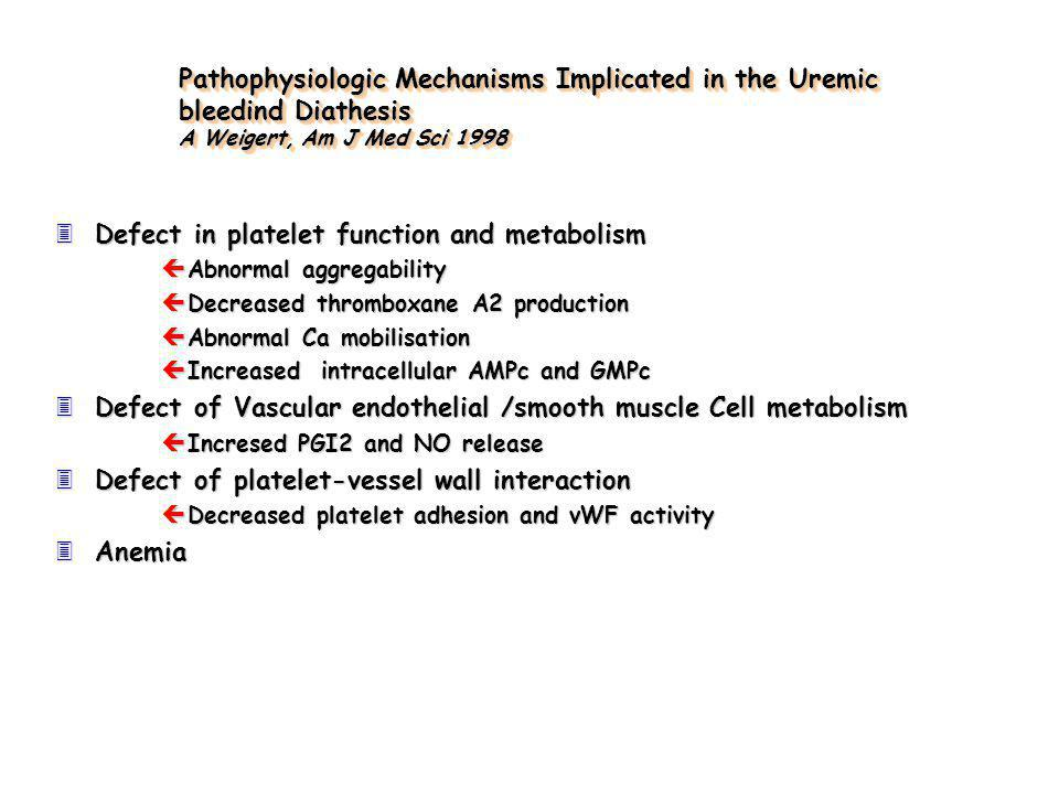 Defect in platelet function and metabolism