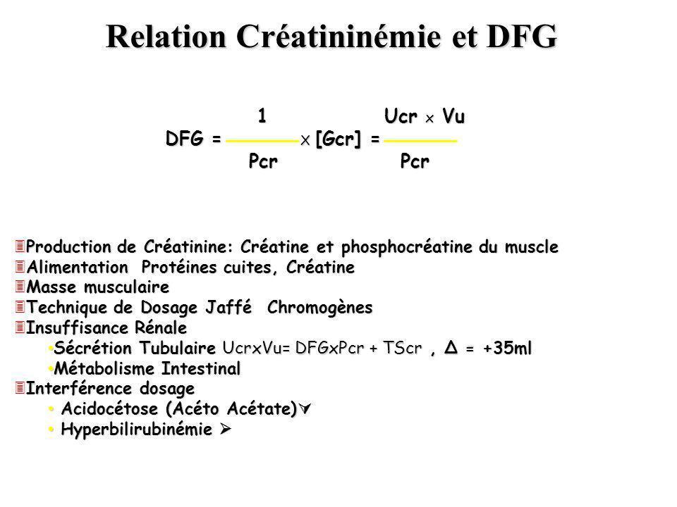 Relation Créatininémie et DFG