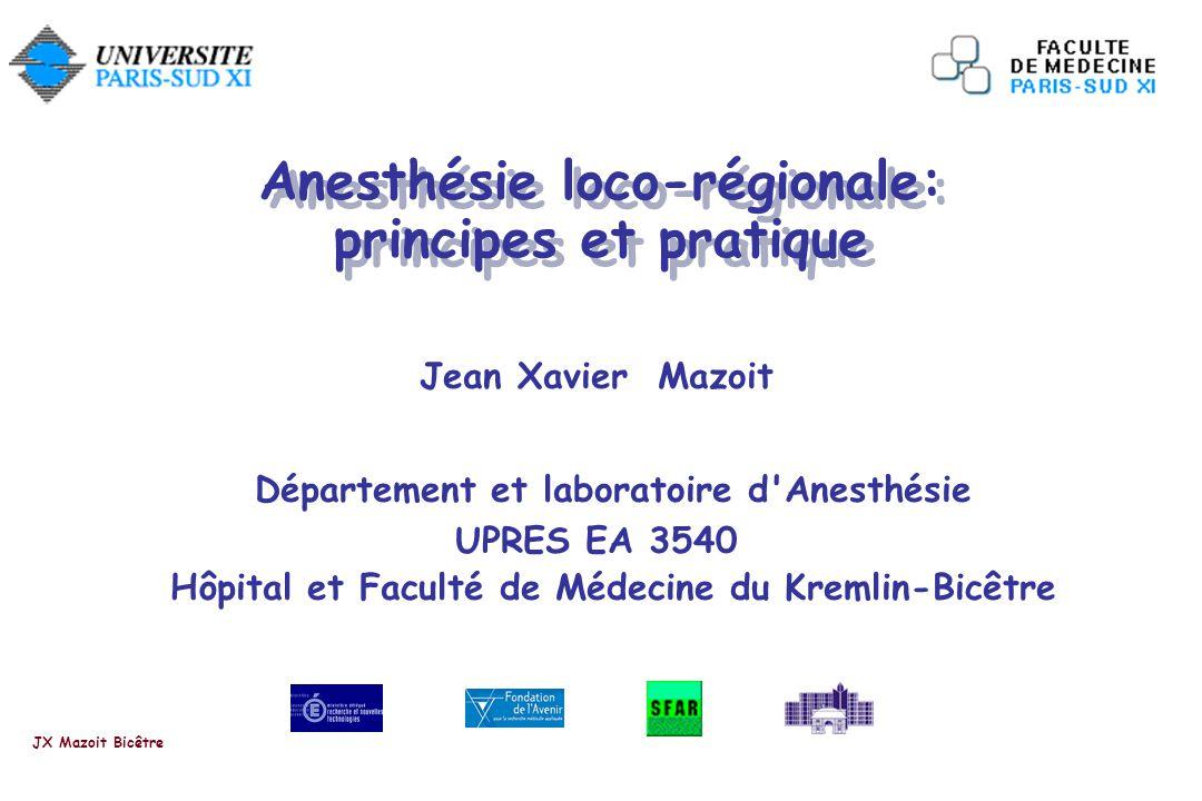 Anesthésie loco-régionale: principes et pratique