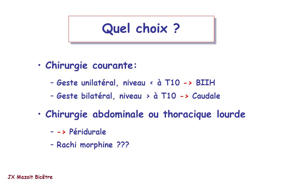 Quel choix Chirurgie courante: