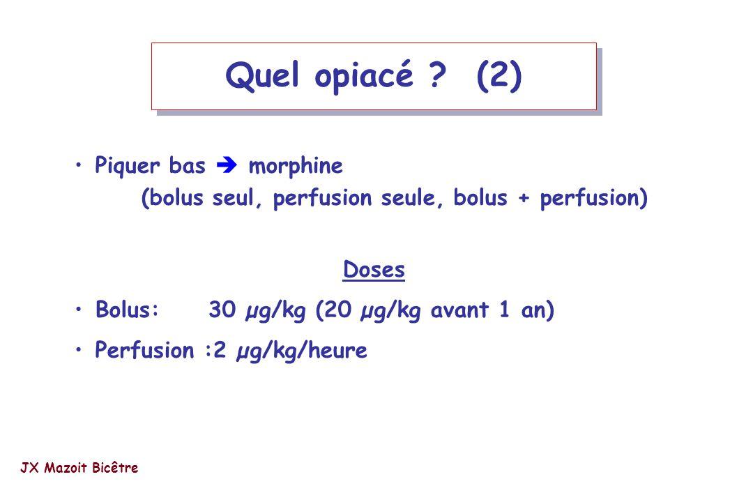 Quel opiacé (2) Piquer bas  morphine (bolus seul, perfusion seule, bolus + perfusion) Doses. Bolus: 30 µg/kg (20 µg/kg avant 1 an)