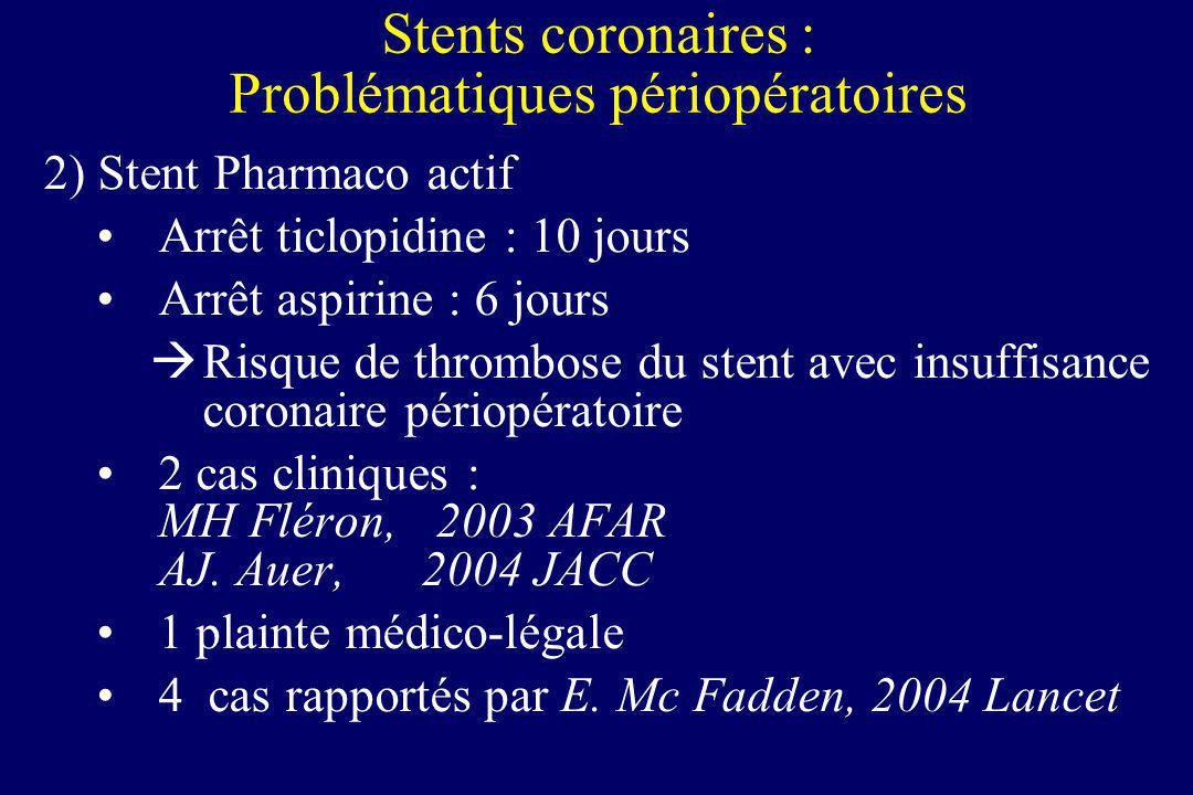 Stents coronaires : Problématiques périopératoires