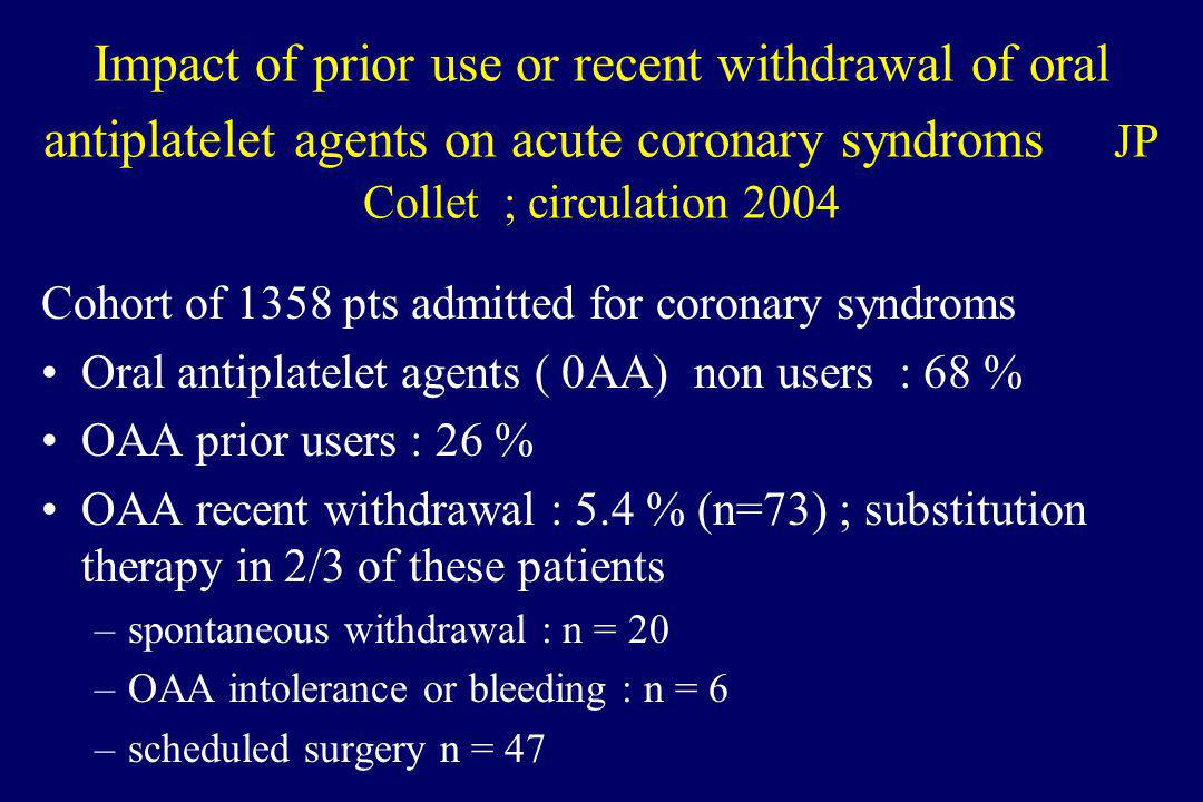 Impact of prior use or recent withdrawal of oral antiplatelet agents on acute coronary syndroms JP Collet ; circulation 2004